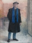 Self-portrait with cap in black coat. 1991 100x75 cm.