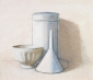 Funnel, bowl and pot. 30x35 cm.