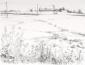 Landschap Ardéche. tekening O.I. inkt 50x65 cm.