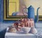 Puddingvorm, koffiekan, spiegel. 55x60 cm.