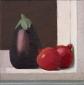 Aubergine en granaatappel. 30x30 cm.