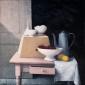 Tafel met schaal en koffiekan. 80x80 cm.