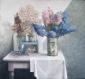 Bloemen en naakt op tafel. 60x65 cm.