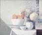 Kommen, broodjes en bloemen. 60x70 cm.