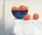 Sinaasappel, blauwe schaal. 50x60 cm.