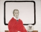 Zelfportret met poes met kraag. 1971 75x86,5 cm.