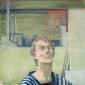 Zelfportret in kamerjas. 1995 45x45 cm.