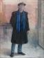 Zelfportret in zwarte jas met pet. 1991 100x75 cm.