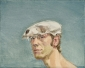 Zelfportret met schedel. 1982 40x50 cm.