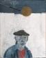 Zelfportret met boksbal. 50x40 cm.